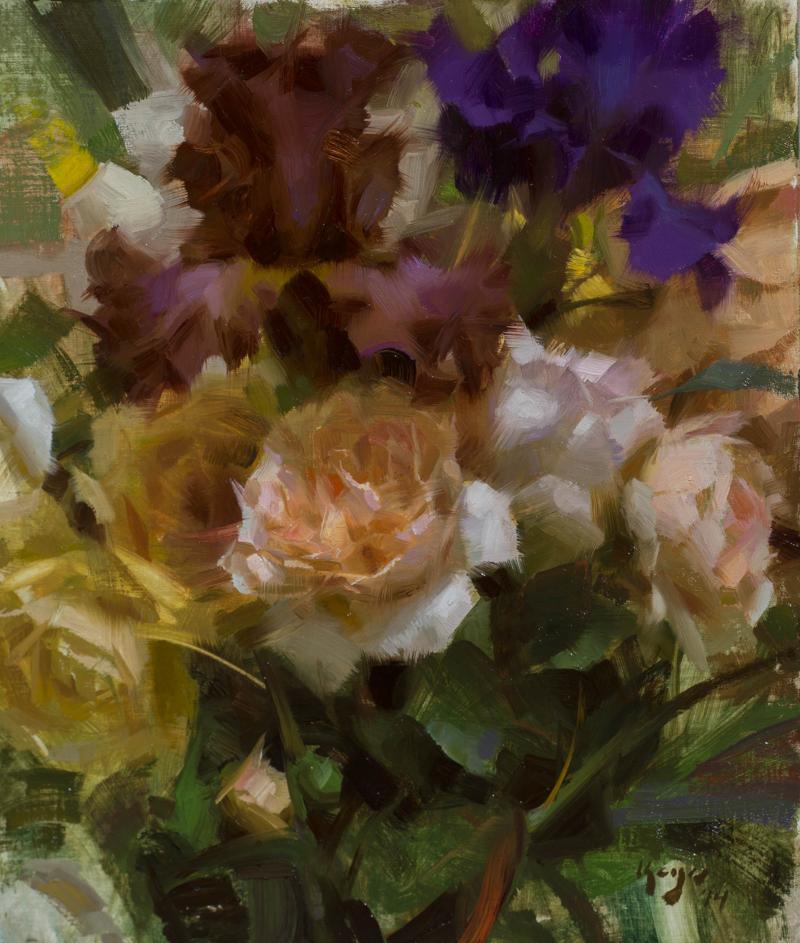 Red Iris Flower Painting