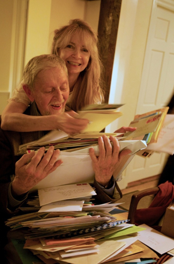 Richard Schmid and Nancy Guzik receiving Birthday cards from his fans around the world.