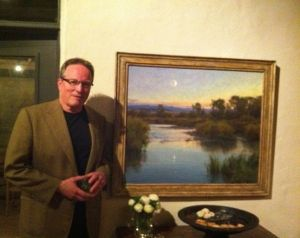 Clyde Aspevig next to his painting