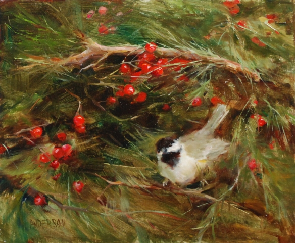Chickadee and Winterberry, 10x12 (2)