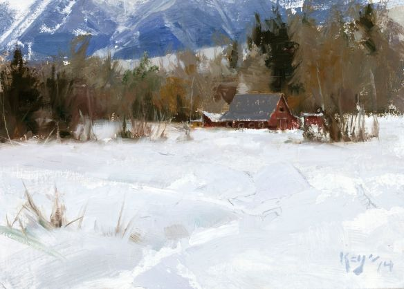 """Montana Barns"" Oil 6"" x 10"" ©Daniel J. Keys 2014"